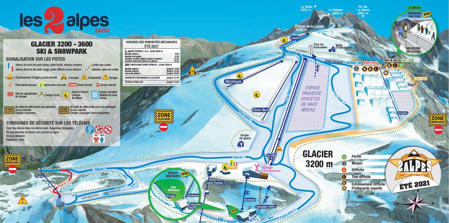 plan ski d'été Les 2 Alpes 2021